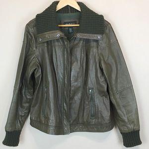 Eddie Bauer Leather Bomber Jacket - Green